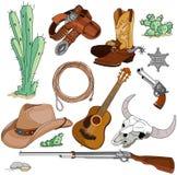 Cowboygegenstände eingestellt Stockfoto