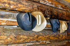 Cowboyhüte auf einer Blockhauswand Stockbild