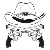 Cowboyhatt med ett par av korsade vapen stock illustrationer