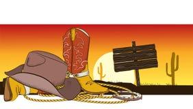 Cowboyhintergrund mit amerikanischer Kleidung Lizenzfreies Stockfoto