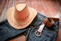 Cowboyhoed en jeans en riem Royalty-vrije Stock Afbeelding