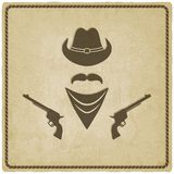 Cowboyhoed en kanon oude achtergrond Royalty-vrije Stock Fotografie