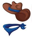 Cowboyhoed en sjaal Illustratie met eenvoudige gradiënten vector illustratie