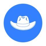 Cowboyhutikone in der schwarzen Art lokalisiert auf weißem Hintergrund Hutsymbolvorrat-Vektorillustration Stockbild