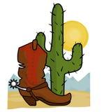 Cowboykänga och kaktus Arkivfoton
