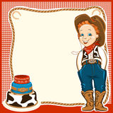 Cowboykindergeburtstagshintergrund mit Kuchen Stockbilder