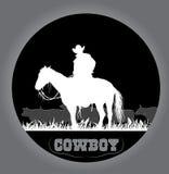 Cowboyklistermärke stock illustrationer