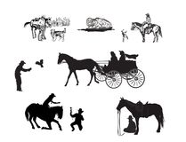 Cowboykonturuppsättning stock illustrationer