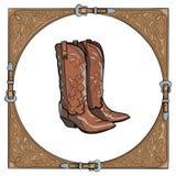 Cowboylaarzen in het westelijke leerkader op witte achtergrond vector illustratie