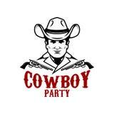 Cowboypartei Cowboy mit Revolvern Gestaltungselement für Logo, Aufkleber, Zeichen vektor abbildung