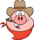 CowboyPig Head Cartoon tecken stock illustrationer