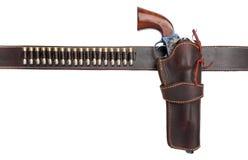 Cowboypistolenhalfter mit Gewehr und Gewehrkugeln Stockbild