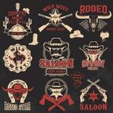 Cowboyrodeo, wilde het westenetiketten Stock Foto's