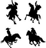 cowboyrodeosilhouettes royaltyfri illustrationer