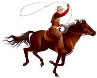 Cowboyryttare som kastar lassoen stock illustrationer