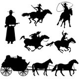 Cowboys. Hand drawn silhouettes of cowboys and horses Stock Photos