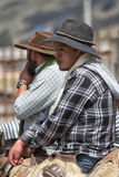 Cowboys from the Andes of Ecuador. June 10, 2017 Toacazo, Ecuador: local cowboys sitting in saddle waiting for the rodeo to start stock photography