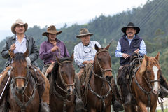 Cowboys from the Andes region of Pichincha Ecuador Stock Photos