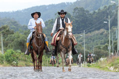 Cowboys arriving to a rural rodeo Royalty Free Stock Images