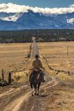 Cowboys on Cattle Drive on long dirt road to San Juan Mountains. OCTOBER 2017, Ridgway, Col.orado: Cowboys on Cattle Drive on long dirt road to San Juan royalty free stock image