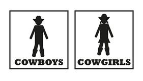 Cowboys and cowgirls vector toilet signs. Isolated on white background Stock Photos