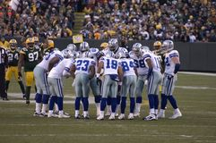 Cowboys de Dallas se blottissant vers le haut le jour de jeu Photo stock