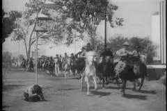Cowboys, die hinter Mann auf dem Boden galoppieren stock video