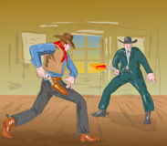 Cowboys drawing  firing pistol. Illustration of two cowboys in a gunfight done in watercolor style Royalty Free Stock Photos