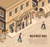 Cowboys Duel Isometric Illustration. Wild west cowboys with pistols during duel sheriff near entrance of saloon isometric vector illustration royalty free illustration