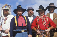 Cowboys in full costume during frontier reenactment, CA Royalty Free Stock Photo