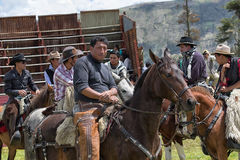 Cowboys gathering in rodeo ring in Ecuador. June 10, 2017 Toacazo, Ecuador: Andean cowboys called `chagra` gathering in the rodeo arena before the event starts Royalty Free Stock Image