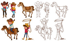 Cowboys and horses in colors and line Royalty Free Stock Photography