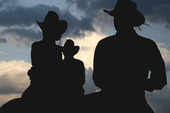 Free Cowboys In The Morning Silhouette Stock Photo - 8823160