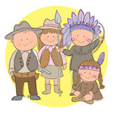 Cowboys and Indians. Hand drawn picture of children dressed up as Cowboys and Indians. Illustrated in a loose style. Vector eps available Stock Photos