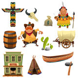 Cowboys and Indians Icons. A vector illustration of cowboys and Indian icon sets Stock Photo