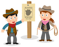 Cowboys Looking Wanted Poster. Two cartoon cowboy kids (boy and girl) looking at a wanted poster, on white background. Eps file available Royalty Free Stock Image