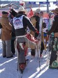 Cowboys preparing for the  40th Annual Cowboy Downhill Race Royalty Free Stock Photo