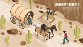 Free Cowboys Robbery Isometric Horizontal Illustration Royalty Free Stock Photos - 140636158