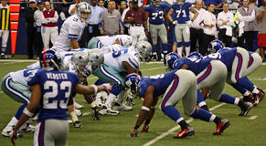 Cowboys Romo Offense NY Giants Defense Royalty Free Stock Images