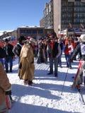 Cowboys se préparant au quarantième cowboy annuel Downhill Race images libres de droits