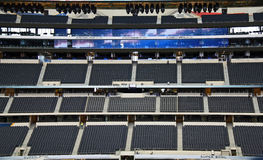 Cowboys Stadium Stands. ARLINGTON - JAN 26: A view of the FOX Sports super bowl broadcast press box and triplets ring of honor in Cowboys Stadium in Arlington Stock Images