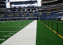 Cowboys Stadium Super Bowl Side Line. ARLINGTON - JAN 26: A view of the side line in Cowboys Stadium in Arlington, Texas sight of Packers Steelers Super Bowl XLV royalty free stock images