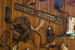 Cowboys Wanted Sign. A Cowboys Wanted Sign from Calico, California, a ghost town and San Bernardino County Park Stock Photo