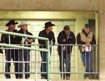 Cowboys Watching Calf Roping Royalty Free Stock Photos
