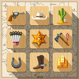 Cowboys and Wild West, flat icon set. Traveling in Wild West, flat icon set Royalty Free Stock Photo
