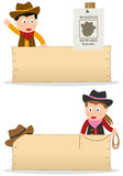 Cowboys and Wooden Board. Two cartoon cowboy kids (boy and girl) with blank wooden banner, isolated on white background. Eps file available Stock Image