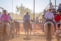 Cowboys zu Pferd, die Land-Rodeo aufpassen lizenzfreie stockfotos