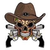 Cowboyschädel in einem Westhut und ein Paar gekreuzte Gewehre vektor abbildung