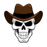 Cowboyschädelcharakter mit braunem geglaubtem Hut Stockfoto