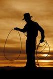 Cowboyschattenbildgriff-Seilschleife stockfotos